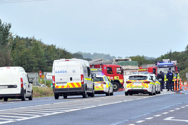 Scene of the fatal accident on the Mallow Road outside Cork city ,near the Waterloo junction involving an articulated lorry and two cars.