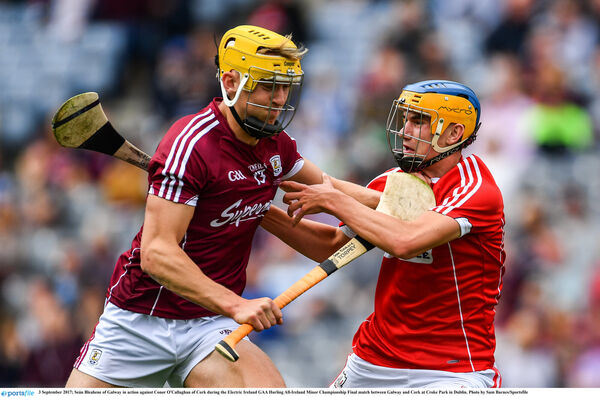 Seán Bleahene of Galway in action takes on Eoin Roche. Picture: Sam Barnes/Sportsfile