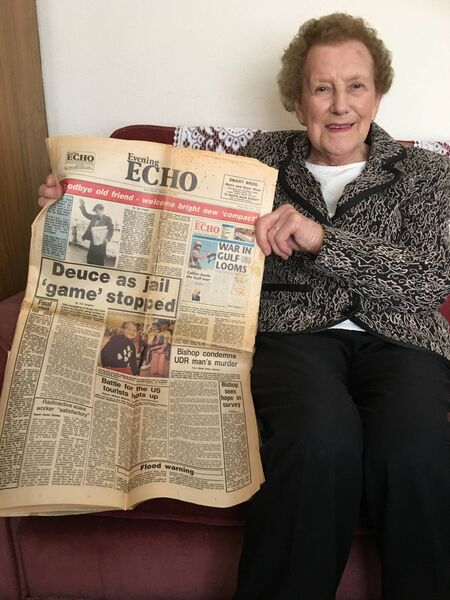 BIG NEWS: Monday, March 4, 1991, was a historic date for the Cork Evening Echo as the newspaper became a compact tabloid, after 99 years of being a broadsheet. Nora Nevin, from Westbourne Park in The Lough, kept her copy of the last broadsheet of the Evening Echo that previous Saturday, March 2, for posterity and is pictured holding it