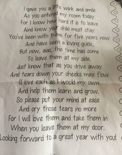 The poem handed to Elaine on her daughter's first day of school
