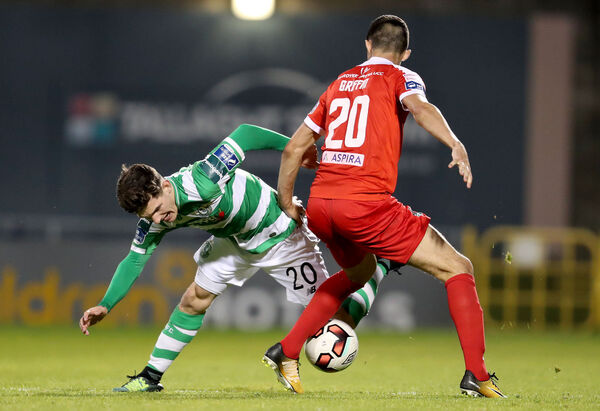 Shamrock Rovers Trevor Clarke and Shane Griffin of Cork City. Picture: INPHO/Bryan Keane