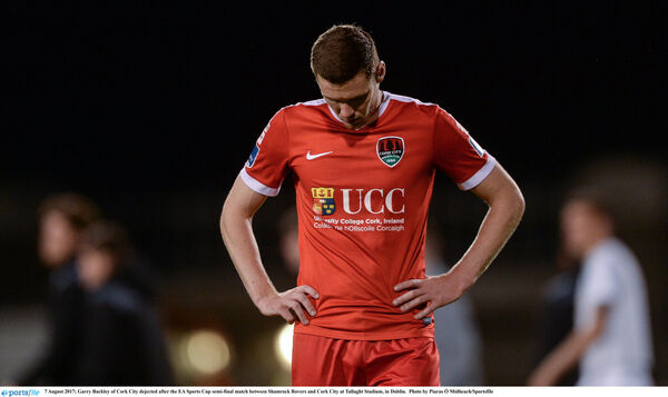 Garry Buckley of Cork City dejected after the EA Sports Cup semi-final match between Shamrock Rovers and Cork City at Tallaght Stadium, in Dublin. Photo by Piaras Ó Mídheach/Sportsfile
