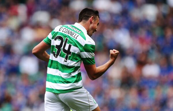 Eoghan O'Connell after scoring a cracker against Leicester City at Celtic Park. Picture: Ian MacNicol/Getty Images)