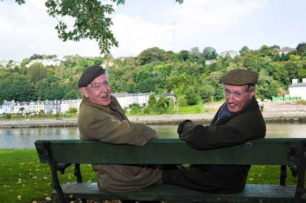 Michael Twomey and Frank Duggan as 'Cha and Miah', pictured at their old haunt at the Marina. Photo by Shane Schollard