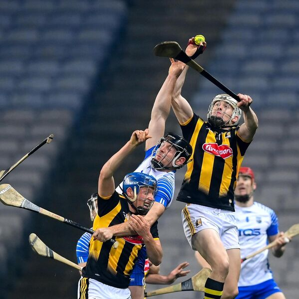 TJ Reid catches a puck-out at Croke Park wearing a Mycro glove. Picture: Stephen McCarthy/Sportsfile