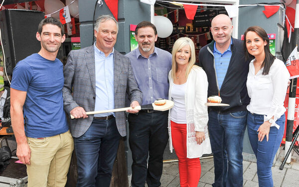 Owners Stephen and Orla O'Keeffe with hurling legends Tomás Mulcahy and Anthony Daly at the Shack on Oliver Plunkett Street, before the Munster final. Also included are Éamonn Murphy of the Evening Echo, left and Lisa Lawlor of Red FM, right. Picture: David Keane.07.07.2017EEjob Echo Sport.