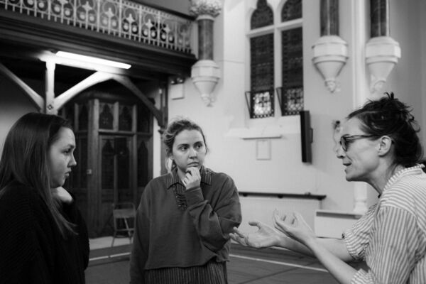 Director Fiona McGeown, in rehearsal with actors, Julie Maguire and Seána O'Hanlon. Picture: Enrique Carnicero