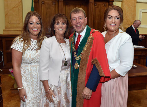 Lord Mayor of Cork Cllr Tony Fitzgerald with his wife the Lady Mayoress Georgina Fitzgerald and daughters Michelle and Deborah at City HallPicture: Eddie O'Hare