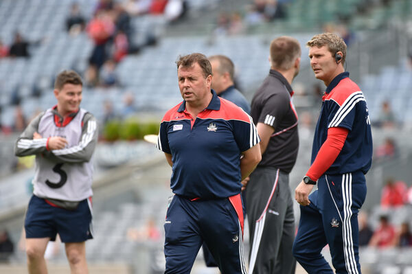 Cork manager Denis Ring and coach John Dwyer prior to their clash with Dublin. Picture: Dan Linehan