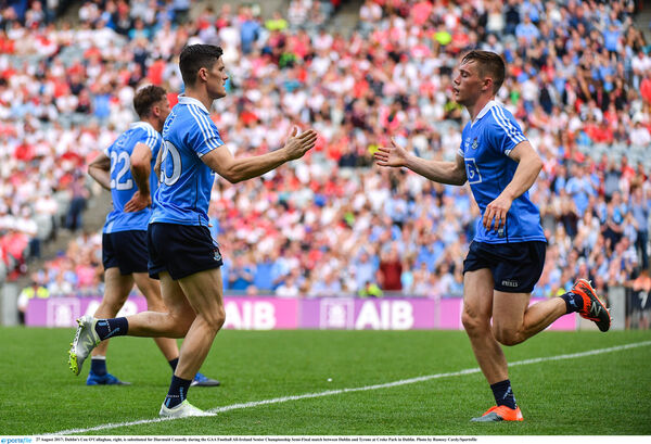 Dublin's Con O'Callaghan, right, and Diarmuid Connolly, are serious attacking threats. Picture: Ramsey Cardy/Sportsfile
