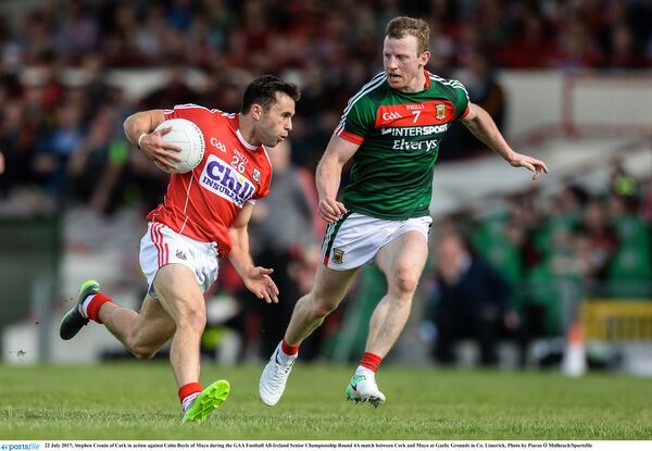 GIFTED: Stephen Cronin of Cork in action against Colm Boyle of Mayo. Picture: Piaras Ó Mídheach/Sportsfile