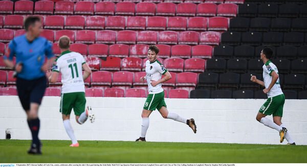 Kieran Sadlier celebrates scoring in the cup against Longford in Cork City's current Nike jersey. Picture: Stephen McCarthy/Sportsfile
