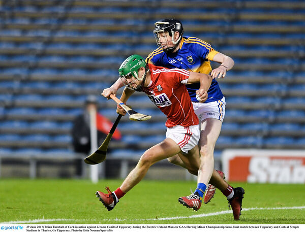 Brian Turnbull of Cork in action against Jerome Cahill of Tipp. Picture: Eóin Noonan/Sportsfile