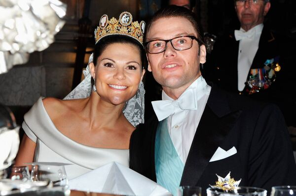 Crown Princess Victoria of Sweden and her husband prince Daniel attend their wedding banquet at the Royal Palace. She has spoke out about her eating disorder. Photo by Pascal Le Segretain/WireImage.