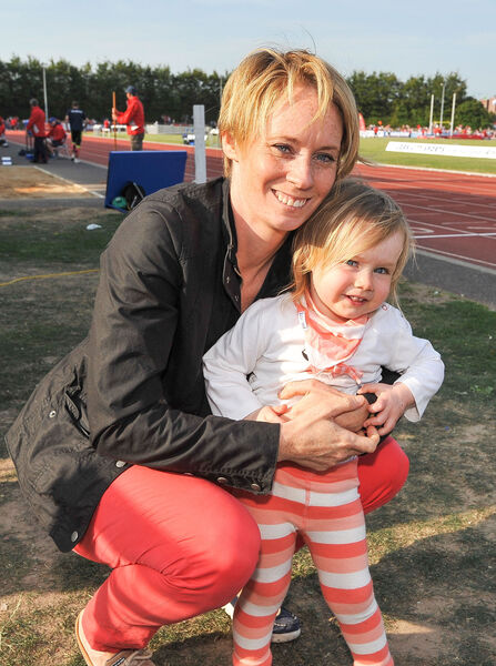 Athletics legend Derval O'Rourke and her daughter Dafne O'Leary. Picture: David Keane.