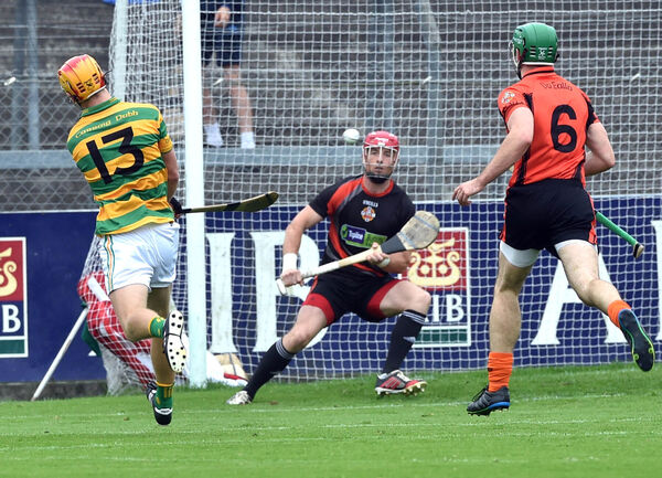 Blackrock's Michael O'Halloran shoots at Anthony Nash. Picture: Eddie O'Hare
