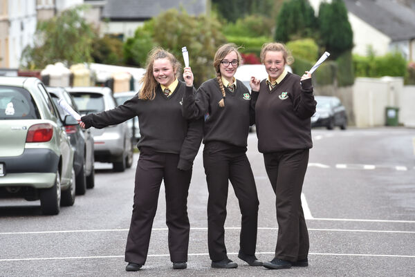 Shauna Histon, Ciara Hawthorn and Amy Cronin all pupils of St. Patrick's College, Cork who received their junior cert results. Picture Dan Linehan