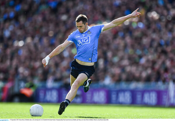 Dean Rock of Dublin takes a free. Picture: Sam Barnes/Sportsfile