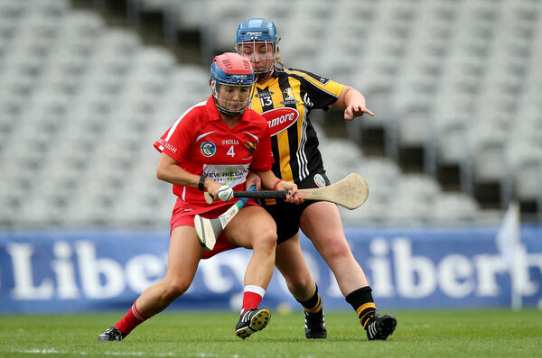 Niamh Ní Chaoimh with the Erin's Own colours on her helmet. Picture: INPHO/Ryan Byrne