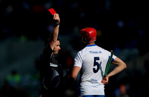 Referee Fergal Horgan red cards Tadhg de Burca of Waterford. Picture: INPHO/James Crombie