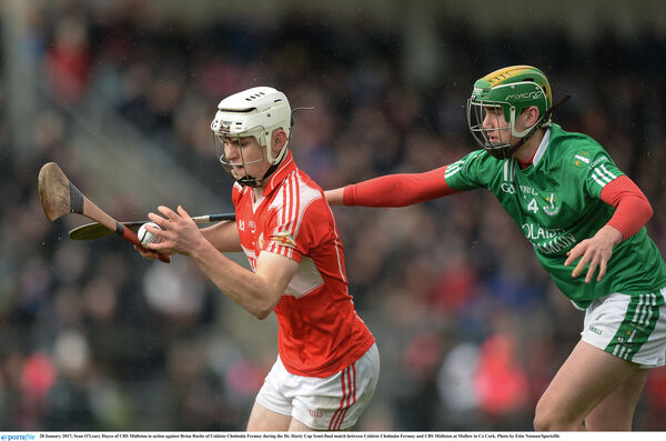 Sean O'Leary Hayes, hurling for CBS Midleton against St Colman's Brian Roche. They line out in Croker together on Sunday. Picture: Eóin Noonan/Sportsfile