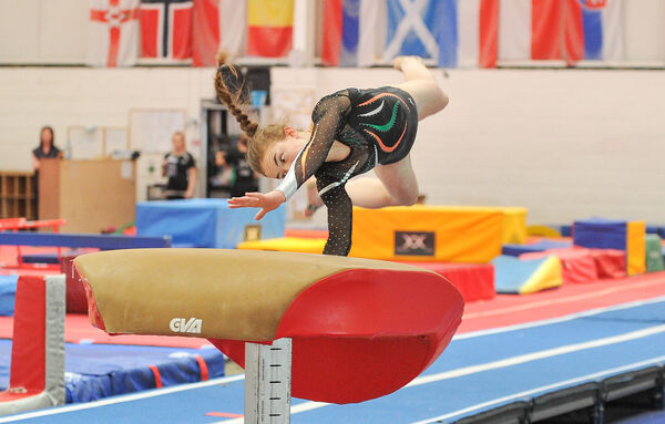 Meg Ryan training at Douglas Gymnastics Club ahead of the European Youth Olympics 2017 in Hungary next week. 	Pictures: David Keane