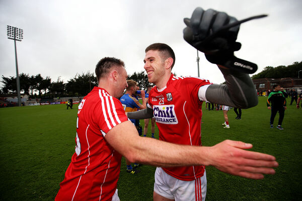 Paul Kerrigan celebrates after the Tipp game with Luke Connolly. Picture: INPHO/Tommy Dickson