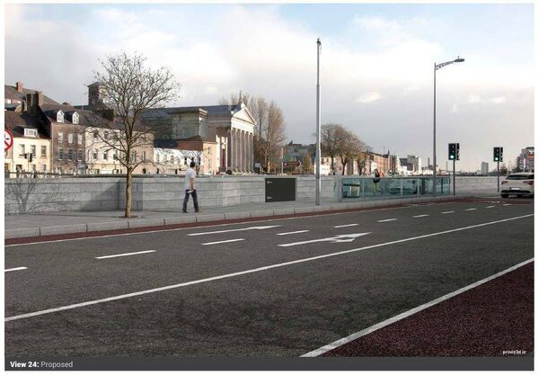 Proposed flood defences along Cork's quay walls. Cornmarket St Bridge