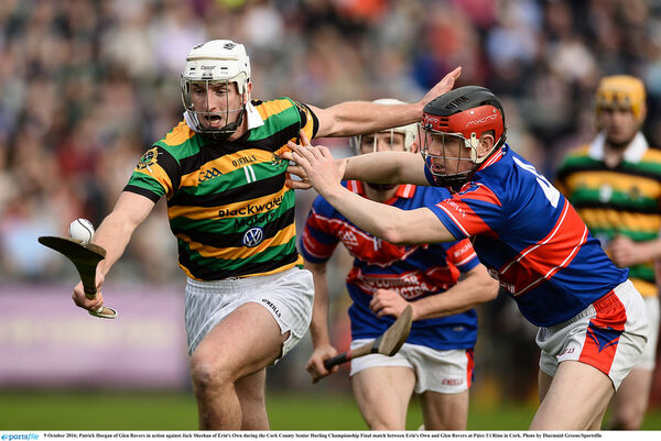 Patrick Horgan of Glen Rovers in action against Jack Sheehan of Erin's Own. Picture: Diarmuid Greene/Sportsfile