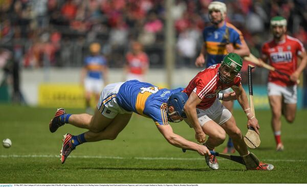 Alan Cadogan of Cork in action against John O'Keeffe of Tipperary in last Sunday's thriller. Picture: Brendan Moran/Sportsfile