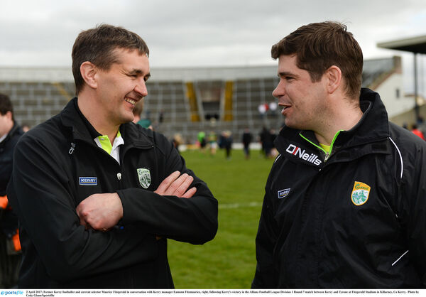 Former Kerry footballer and current selector Maurice Fitzgerald in conversation with Kerry manager Eamonn Fitzmaurice. Picture: Cody Glenn/Sportsfile