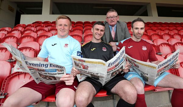 Evening Echo are media partners with Cobh. Pictured are Bob Donovan, chairman, with Cian Kingston, Christopher McCarthy and Karl Caulfield.Picture: Jim Coughlan.