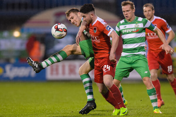 Cork City's Sean Maguire and Daniel Devine of Shamrock Rovers. Pic: INPHO/Tom Beary