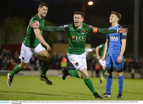 John Dunleavy after scoring against Bray. Picture: Eóin Noonan/Sportsfile