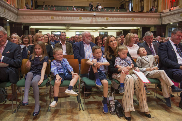 Ronan O'Gara's wife Jessica with their children: twins Rua and Molly (seven), JJ (six), Zac (three) and Max (two). and Micheal Martin TD at his conferring of the Freedom of the City ib Cork City Hall. Pic Michael Mac Sweeney/Provision