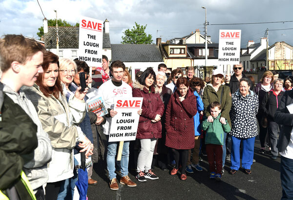 Residents at the proposed Lough high rise building protest on Saturday. Picture: Eddie O'Hare