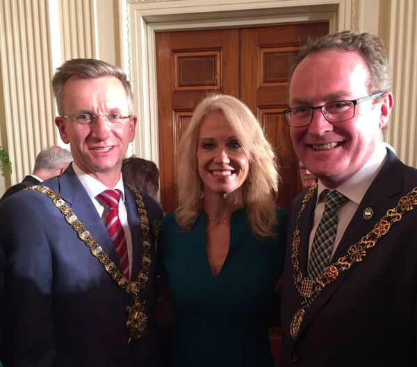 Lord Mayor of Belfast Brian Kingston and the Lord Mayor of Cork Cllr Des Cahill with Kellyanne Conway, counsellor to President Donald Trump.
