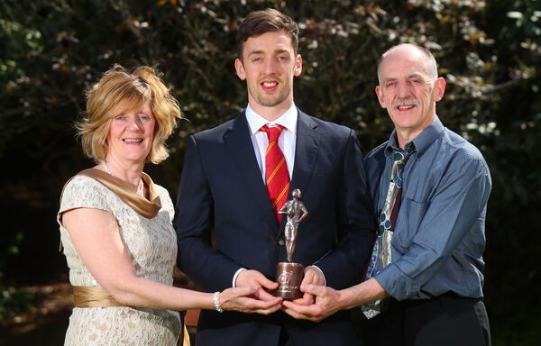 Munster Young Player of the Year Darren Sweetnam with his parents Kathleen and Leslie. Picture: INPHO/James Crombie