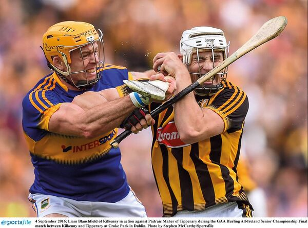 Liam Blanchfield of Kilkenny in action against Pádraic Maher of Tipperary. Picture: Stephen McCarthy/Sportsfile