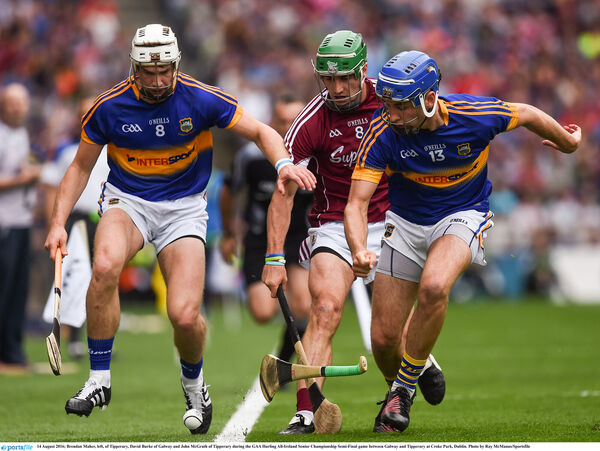Brendan Maher, left, of Tipperary, David Burke of Galway and John McGrath of Tipp. Picture: Ray McManus/Sportsfile