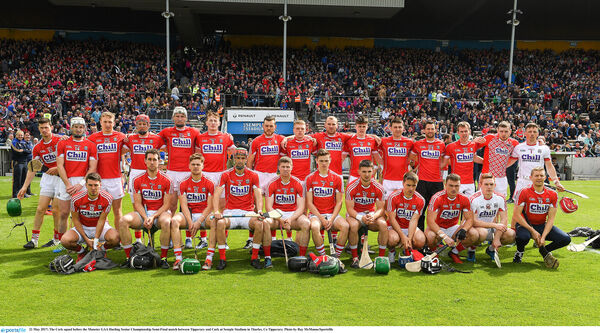 The Cork squad before the game. Picture: Ray McManus/Sportsfile