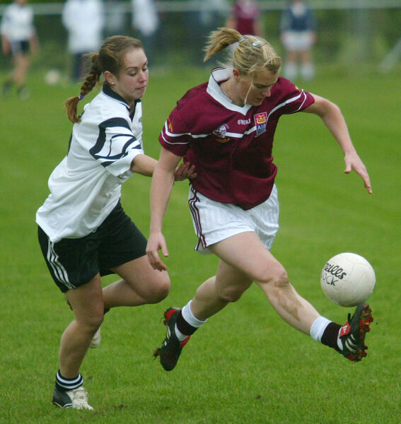 Donoughmore's Edel O'Sullivan and Rockchapel's Deirdre O'Reilly in the 2005 county final. Picture: Cillian Kelly