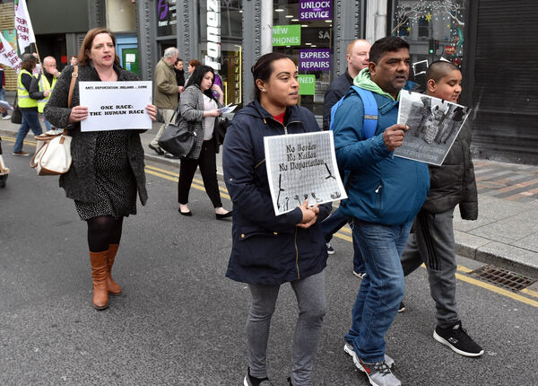 Protestors taking part in the march againt racism in Cork on Saturday. Pic: Eddie O'Hare