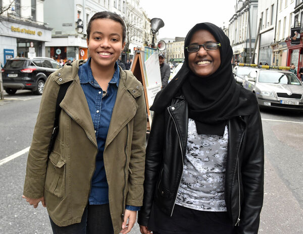 Isadora Alves and Danya Ukanu at the Anti-Racism march in Cork on SaturdayPic: Eddie O'Hare