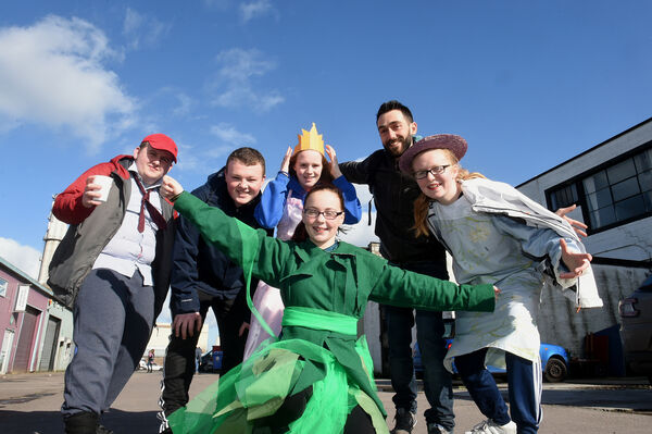 Members of CORK COMMUNITY ART LINK preparing for the St Patrick's Day parade. (l to r) Callum Hayes, Dylan Coleman, Shannon Lee, Ralph Muracha and Shannon O'Connell with (front) Shauna O'Connell from Ark Link, Blackpool.Picture; Larry Cummins