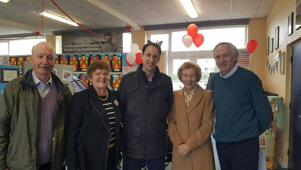 Andrew Bowen, centre, with, from left, Ger Foley, his 2nd class teacher, Alice Barry, his senior infants teacher, Ann Walsh, his First Class teacher, and Noel Ryan, histhird class teacher. Andrew also worked with both Noel and Ger in the school before
