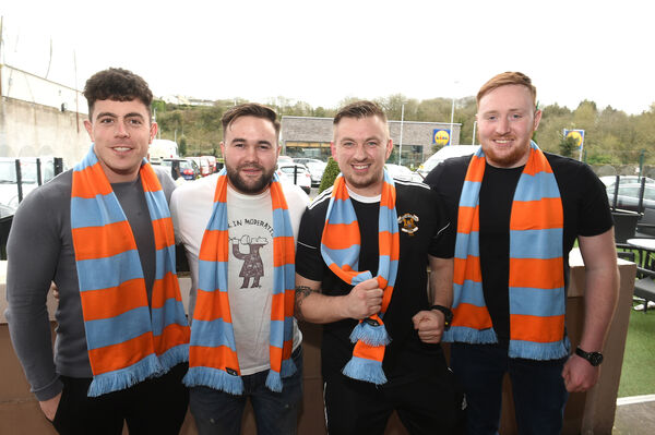 Glanmire lads Shane Barry, Graham Murray, Luciano Tavorilli and Tiernan Hourihan supporting Un De Sceaux at The Castle bar. Picture: Larry Cummins