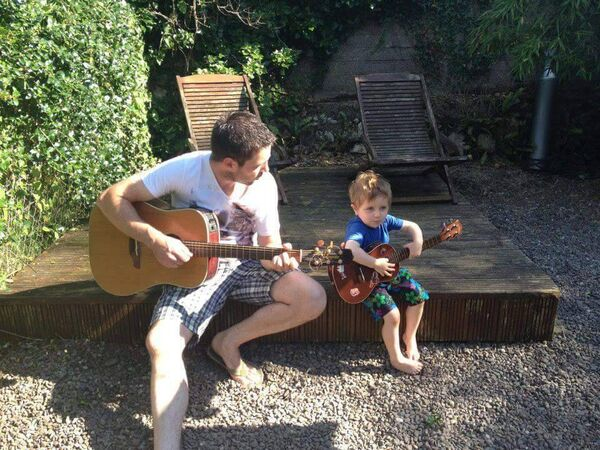 Mahon singer Paul Morrissey with his son Bobby. His song Right Between The Eyes has been nominated for the Pitch at Palace People's Choice Award.