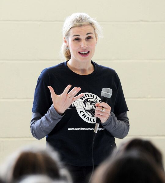 Sinead Kane, blind marathon runnner, speaking to students at Kinsale Community School during an inspirational talk about overcoming adversity. Picture: Denis Minihane.
