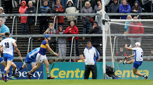 Tipperary's John McGrath scores the first goal of the Munster final rout of Waterford last year. Picture: INPHO/Ryan Byrne